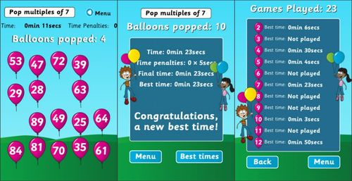 Multiple wipeout math apps