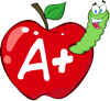 Png 4940 Clipart Illustration of Happy Worm In Red Apple With Leter A Plus