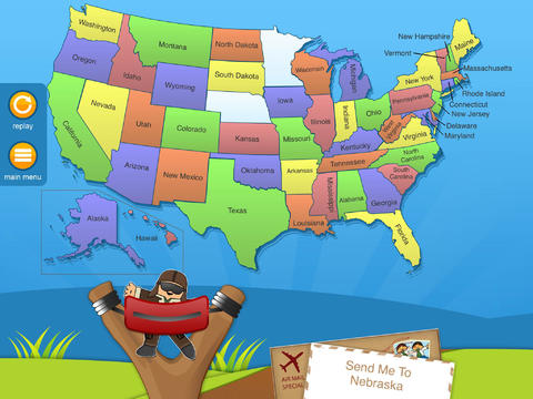 Learn The States HD A Flat Stanley Adventure Geography App - Map of us hd